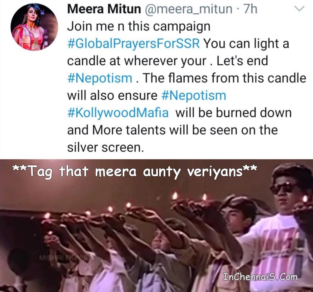 Meera Mithun Veriyans Raising candles memefor Sushanth Singh Rajput