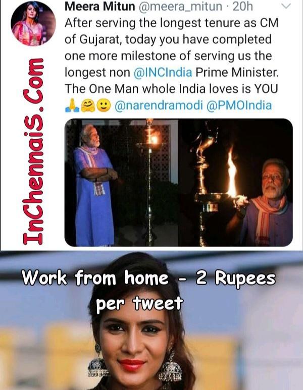 Meera Mithun tweet for 2 Rupees meme