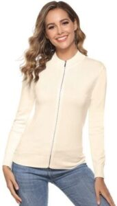 Aibrou Womens Zip Up Long Sleeve Sweater
